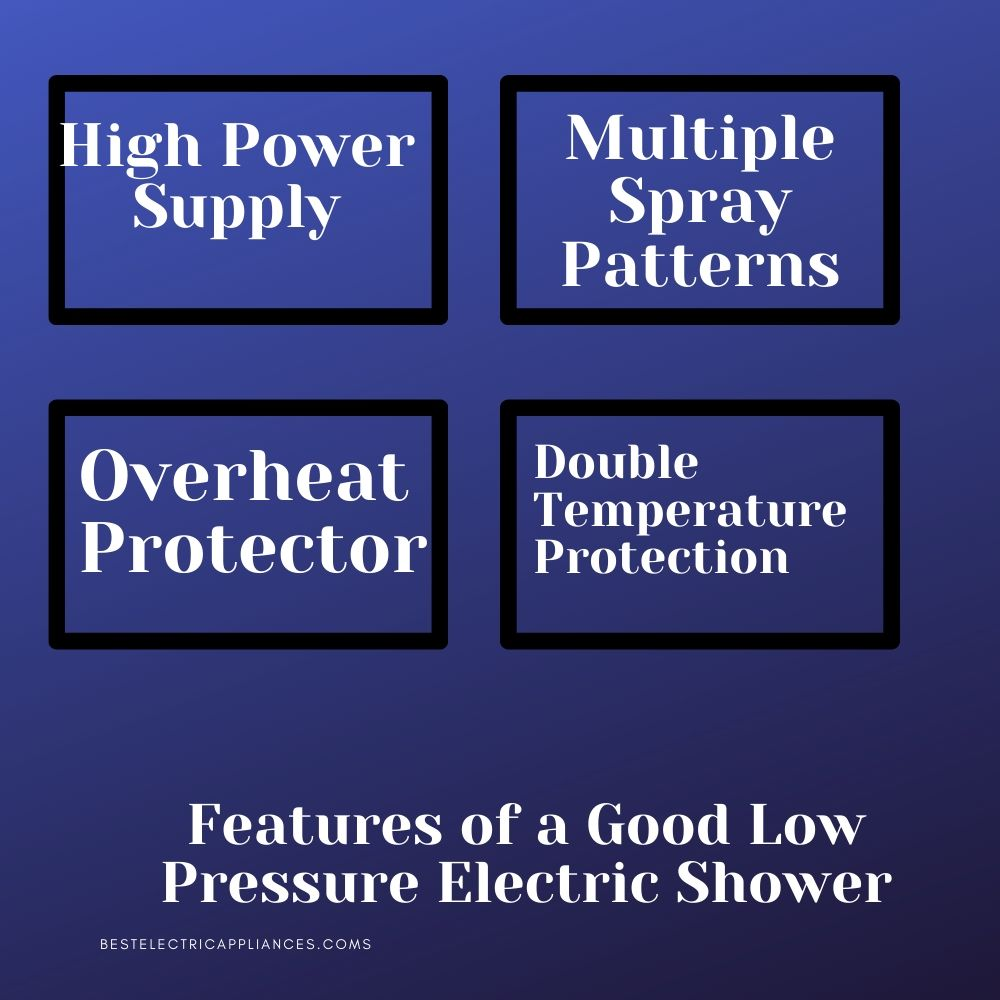 Features of an low pressure electric shower